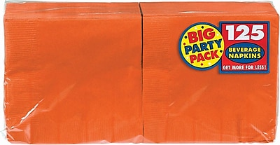 "Amscan Big Party Pack Napkins, 5"" x 5"", Orange, 6/Pack, 125 Per Pack (600013.05)"