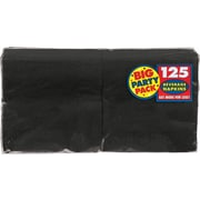 "Amscan Big Party Pack Napkins, 5"" x 5"", Black, 6/Pack, 125 Per Pack (600013.10)"