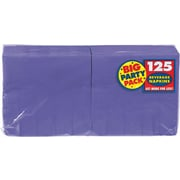 """Amscan Big Party Pack Napkins, 5"""" x 5"""", Purple, 6/Pack, 125 Per Pack (600013.106)"""