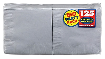 "Amscan Big Party Pack Napkins, 5"" x 5"", Silver, 6/Pack, 125 Per Pack  (600013.18)"