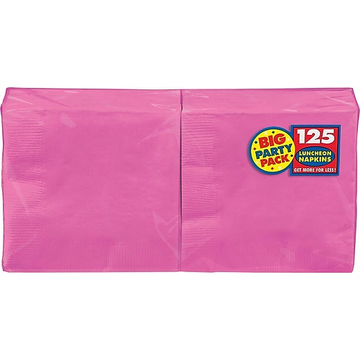 """Amscan Big Party Pack Napkins, 6.5"""" x 6.5"""", Bright Pink, 4/Pack, 125 Per Pack (610013.103)"""