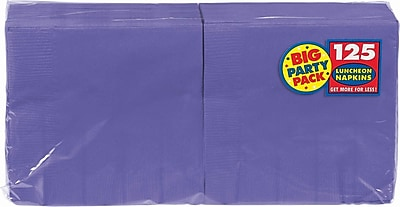"Amscan Big Party Pack Napkins, 6.5"" x 6.5"", Purple, 4/Pack, 125 Per Pack  (610013.106)"