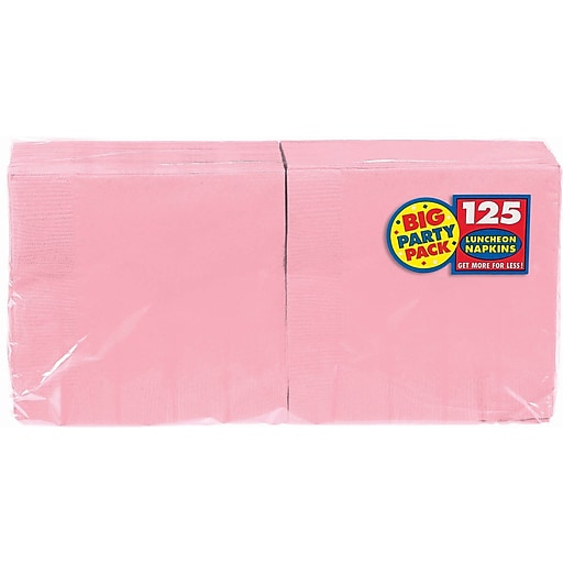 """Amscan Big Party Pack Napkins, 6.5"""" x 6.5"""", Pink, 4/Pack, 125 Per Pack (610013.109)"""