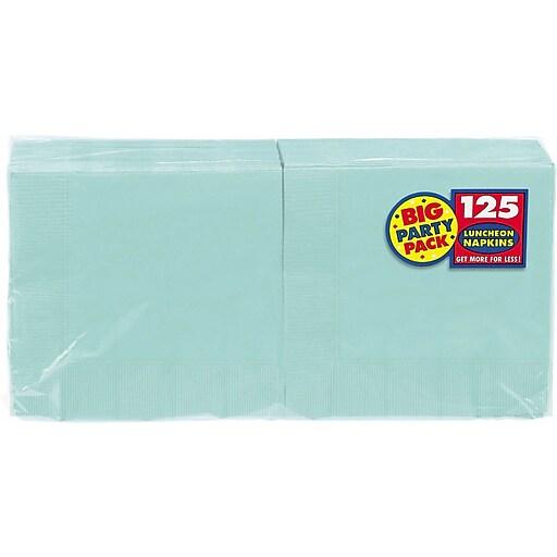 "Amscan Big Party Pack Napkins, 6.5"" x 6.5"", Robins Egg Blue, 4/Pack, 125 Per Pack (610013.121)"