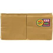 "Amscan Big Party Pack Napkins, 6.5"" x 6.5"", Gold, 4/Pack, 125 Per Pack (610013.19)"