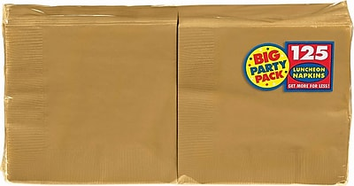 """Amscan Big Party Pack Napkins, 6.5"""" x 6.5"""", Gold, 4/Pack, 125 Per Pack (610013.19)"""