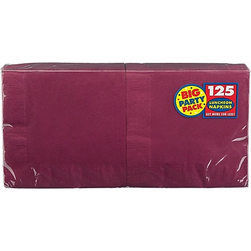 """Amscan Big Party Pack Napkins, 6.5"""" x 6.5"""", Berry, 4/Pack, 125 Per Pack (610013.27)"""