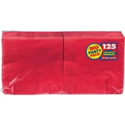 """Amscan Big Party Pack Napkins, 6.5"""" x 6.5"""", Apple Red, 4/Pack, 125 Per Pack (610013.40)"""