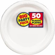 "Amscan 7"" White Big Party Pack Round Plastic Plates, 3/Pack, 50 Per Pack (630730.08)"
