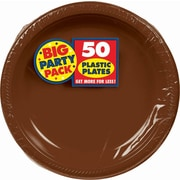 """Amscan Big Party Pack 7"""" Chocolate Brown Round Plastic Plates, 50 Per Pack (630730.111)"""