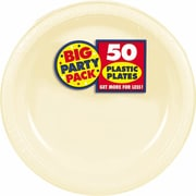 """Amscan 7"""" Vanilla Creme Big Party Pack Round Plastic Plates, 3/Pack, 50 Per Pack (630730.57)"""
