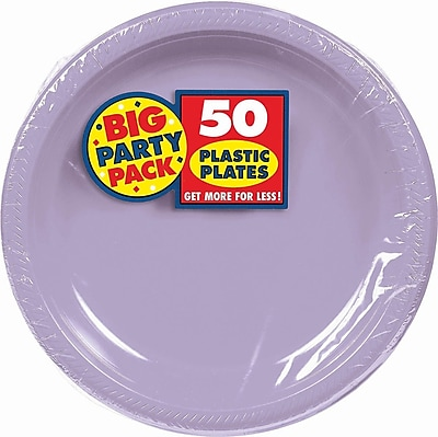 """""""""""Amscan Big Party Pack 10.25""""""""""""""""W Round, Lavender Plastic Plate, 2/Pack, 50 Per Pack (630732.04)"""""""""""" 1970472"""