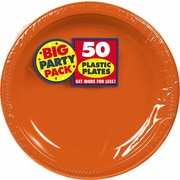 "Amscan Big Party Pack 10.25"" Orange Round Plastic Plate, 2/Pack, 50 Per Pack (630732.05)"
