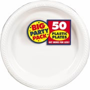 "Amscan Big Party Pack 10.25"" White Round Plastic Plate, 2/Pack, 50 Per Pack (630732.08)"