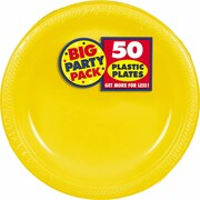 "Amscan Big Party Pack 10.25"" Sunshine Yellow Round Plastic Plate, 2/Pack, 50 Per Pack (630732.09)"