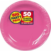 "Amscan Big Party Pack 10.25"" Bright Pink Round Plastic Plate, 2/Pack, 50 Per Pack (630732.103)"