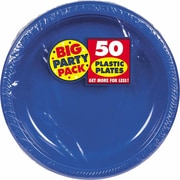 "Amscan Big Party Pack 10.25""W Round Royal Blue Plastic Plates, 2/Pack, 50 Per Pack (630732.105)"
