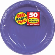 "Amscan 10.25"" Purple Big Party Pack Round Plastic Plate, 2/Pack, 50 Per Pack (630732.106)"