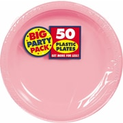 """Amscan 10.25"""" Pink Big Party Pack Round Plastic Plate, 2/Pack, 50 Per Pack (630732.109)"""