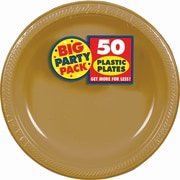 "Amscan Big Party Pack 10.25"" Gold Round Plastic Plate, 2/Pack, 50 Per Pack (630732.19)"