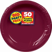 """Amscan Big Party Pack Round Plastic Plate, 10.25"""", Berry, 2/Pack, 50 Per Pack (630732.27)"""