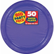 """Amscan Big Party Pack 7"""" Purple Round Paper Plates, 6/Pack, 50 Per Pack (640013.106)"""
