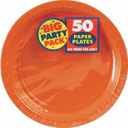 "Amscan 9"" Orange Big Party Pack Round Paper Plates, 5/Pack, 50 Per Pack (650013.05)"