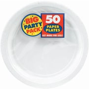 "Amscan Big Party Pack Paper Plates, 9""W Round, White, 5/Pack, 50 Per Pack (650013.08)"