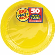 "Amscan Big Party Pack 9"" Round Sunshine Yellow Paper Plates, 5/Pack, 50 Per Pack (650013.09)"