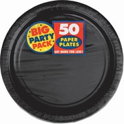 "Amscan Big Party Pack 9"" Round Paper Plates, Black, 5/Pack, 50 Per Pack (650013.1)"