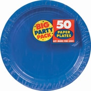 "Amscan 9"" Royal Blue Big Party Pack Round Paper Plates, 5/Pack, 50 Per Pack (650013.105)"