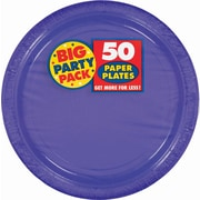"Amscan 9"" Purple Big Party Pack Round Paper Plates, 5/Pack, 50 Per Pack (650013.106)"