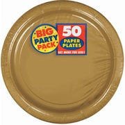 "Amscan 9"" Gold Big Party Pack Round Paper Plates, 5/Pack, 50 Per Pack (650013.19)"