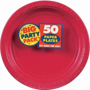 "Amscan 9"" Apple Red Big Party Pack Round Paper Plates, 5/Pack, 50 Per Pack (650013.4)"