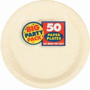 "Amscan 9"" Vanilla Creme Big Party Pack Round Paper Plates, 5/Pack, 50 Per Pack (650013.57)"