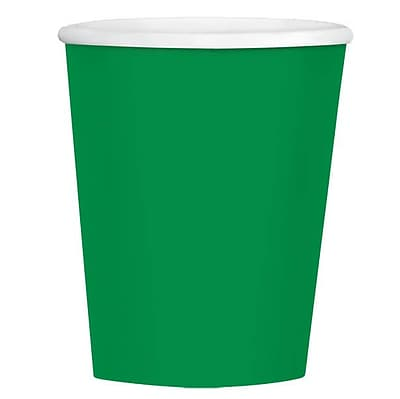 Amscan 12 oz Festive Green Paper Coffee Cup, 4/Pack, 40 Per Pack (689100.03)