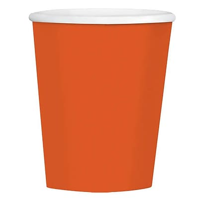 Amscan 12oz Orange Paper Coffee Cup, 4/Pack, 40 Per Pack (689100.05) 1970883