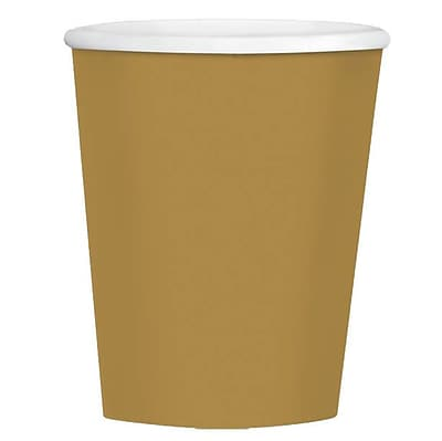 Amscan 12oz Gold Paper Coffee Cups, 4/Pack, 40 Per Pack (689100.19)
