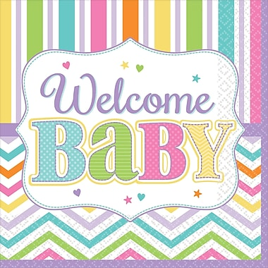 Amscan Welcome Baby Baby Shower Beverage Napkins, 5'' x 5'', 4/Pack, 36 Per Pack (701488)