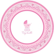 "Amscan Celebrate Baby Girl Baby Shower Round Paper Plates, 10.5"", 4/Pack, 18 Per Pack (721526)"