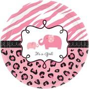 Amscan Sweet Safari Girl Baby Shower 7'' Round Paper Plate; 4/Pack, 18 Per Pack (741131)