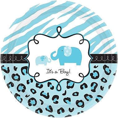 Amscan 7'' Sweet Safari Boy Baby Shower Round Paper Plate, 4/Pack, 18 Per Pack (741132)