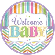 Amscan 7'' Welcome Baby Baby Shower Round Paper Plate, 4/Pack, 18 Per Pack (741488)