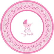 """Amscan Celebrate Baby Girl Baby Shower 7"""" Round Paper Plate, 4/Pack, 18 Per Pack (741526)"""