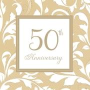 Amscan Gold Elegant Scroll Beverage Napkins, 5'' x 5'', Gold, 8/Pack, 16 Per Pack 5038511)