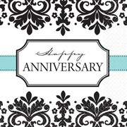 Amscan Always and Forever Anniversary Beverage Napkins, 5'' x 5'', Black/White, 8/Pack, 16 Per Pack (5094611)