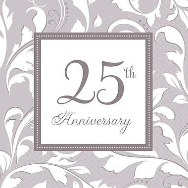 Amscan Elegant Scroll 25th Anniversary Lunch Napkins, 6.5'' x 6.5'', Silver, 8/Pack, 16 Per Pack (5138501)
