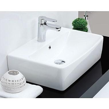 CeraStyle by Nameeks Poco Ceramic Rectangular Vessel Bathroom Sink w/ Overflow