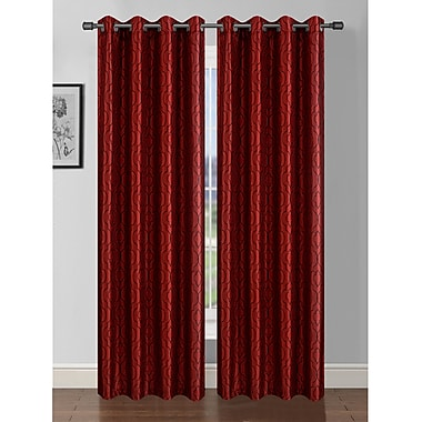 Window Elements Jasper Geometric Sheer Grommet Curtain Panels (Set of 2); Burgundy/Black