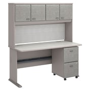 "Bush Cubix 60""W x 27""D Desk with Hutch and 2 Drawer Mobile Pedestal, Pewter/White Spectrum (SRA039PESU)"